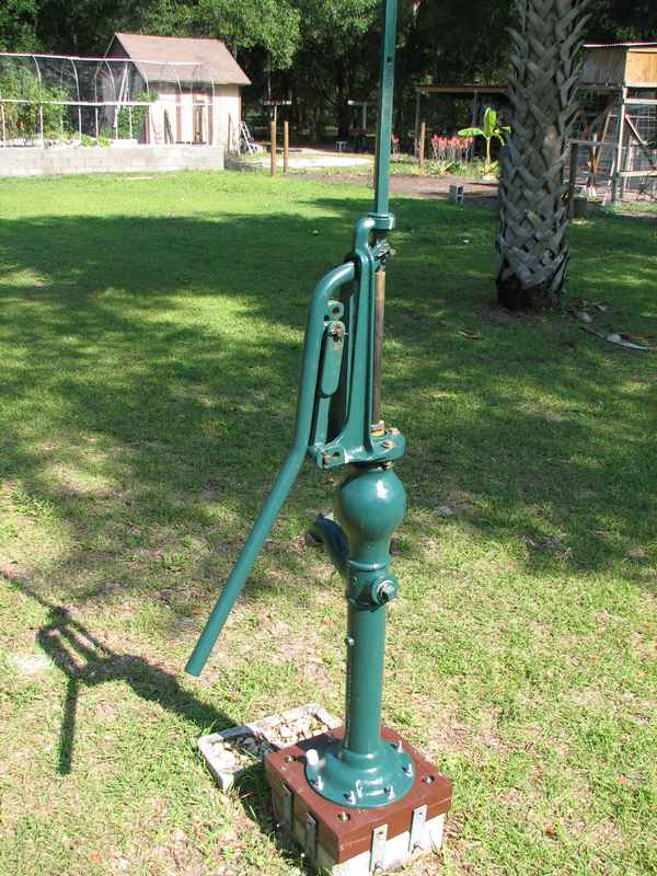 "Traditional hand pump. This started out with a 3"" pump cylinder, but I replaced it with a smaller Bison cylinder."